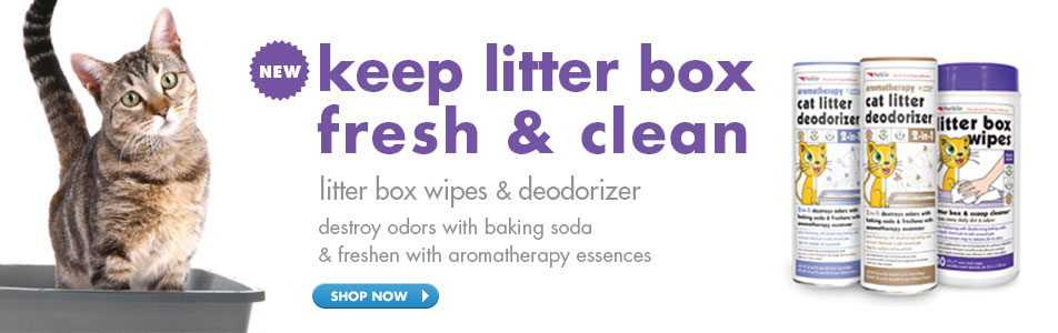keep litter box fresh & clean - litter box wipes & deodorizer - destroy odors with baking soda & freshen with aromatherapy essences
