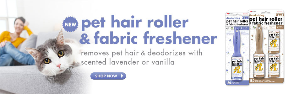 Pet Hair Rollers & Fabric Freshener - Removes pet hair & deodorizers with scented lavendar or vanilla